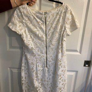 Alexia Admor Leather Floral Laser Cut Lace Dress L